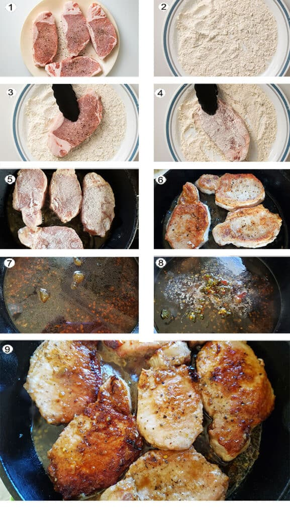 Step by step photographs of the process for making sweet and spicy pork chops. See details in recipe below.