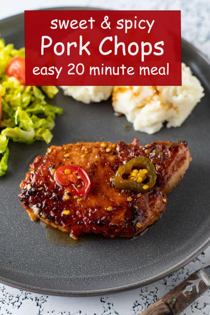 Sweet and spicy pork Pinterest image with text overlay.