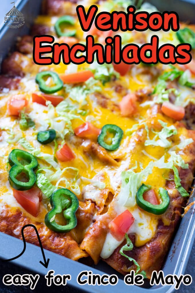 Venison enchiladas Pinterest image with text overlay.