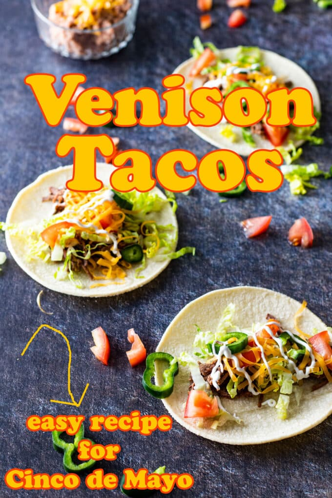 Venison tacos Pinterest image with text overlay.