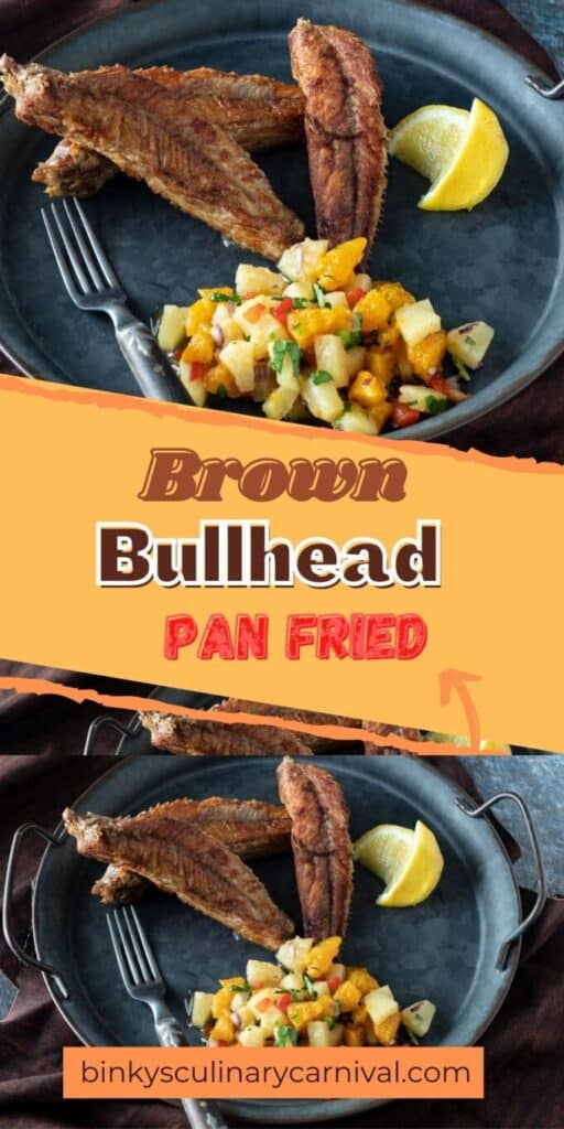 Pan fried bullhead Pinterest image with text overlay.