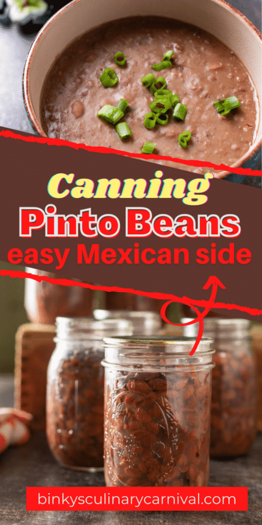 Canning pinto beans Pinterest image with text overlay.