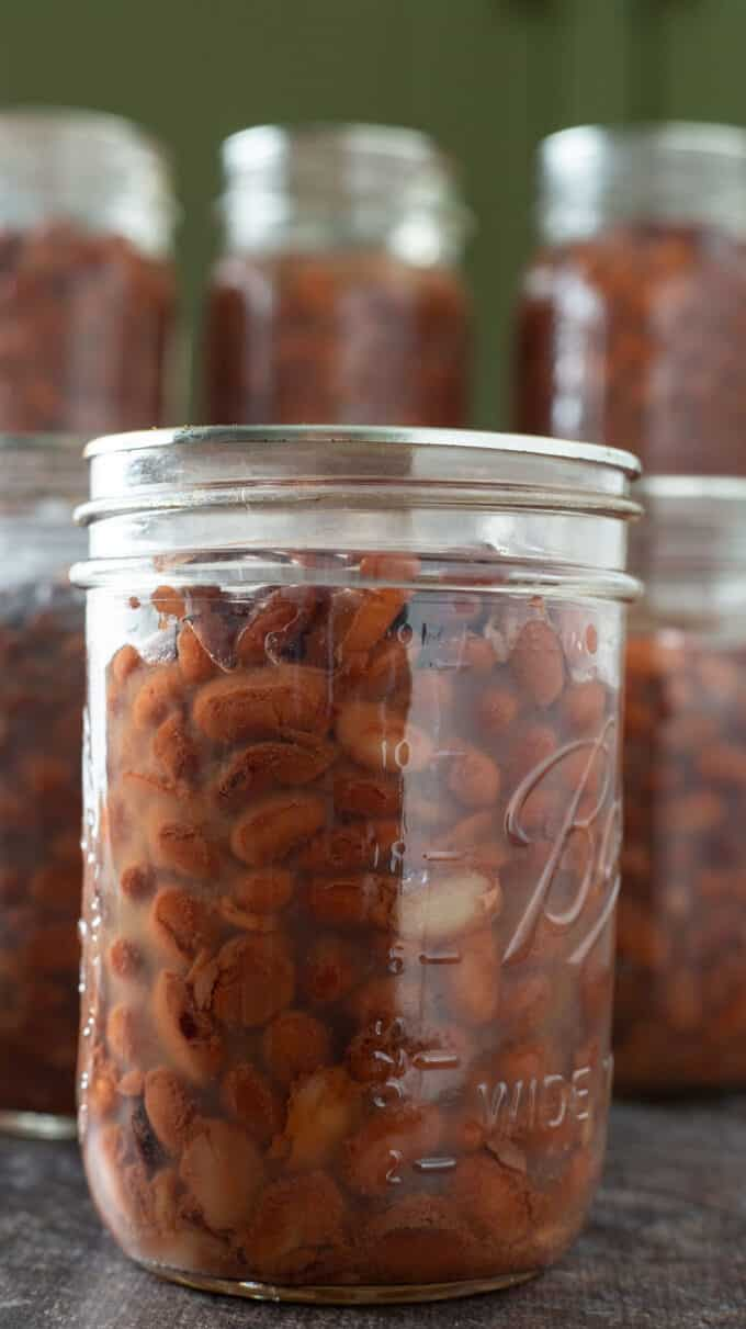 Close up photo of beans in jars.