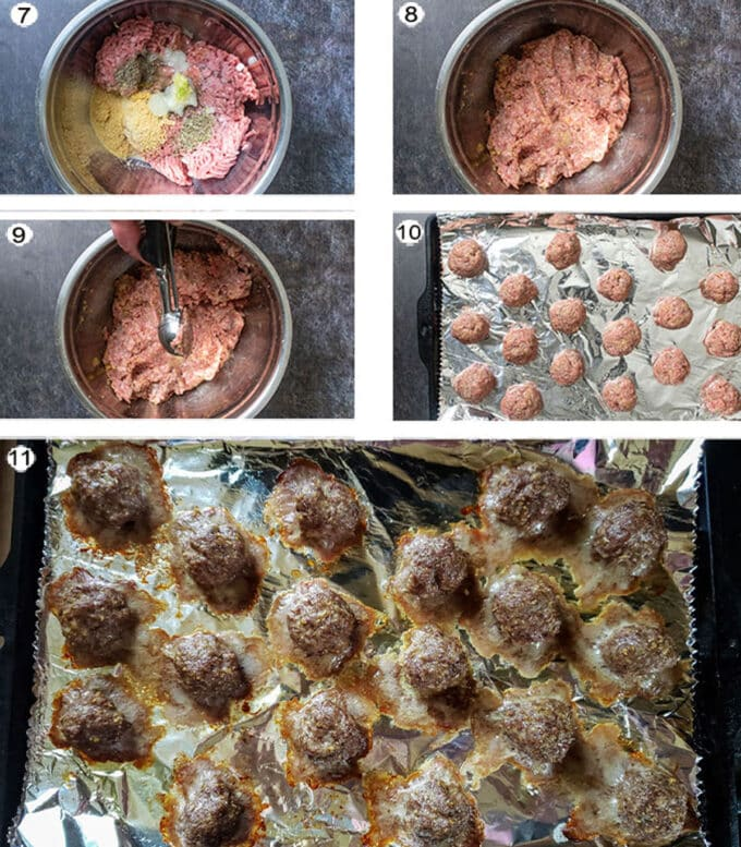 Step by step photos for meatballs. See recipe below for details.