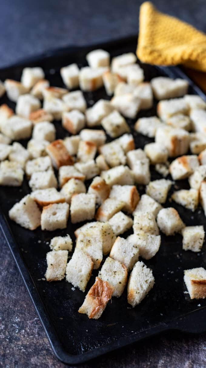 baking sheet with baked croutons.
