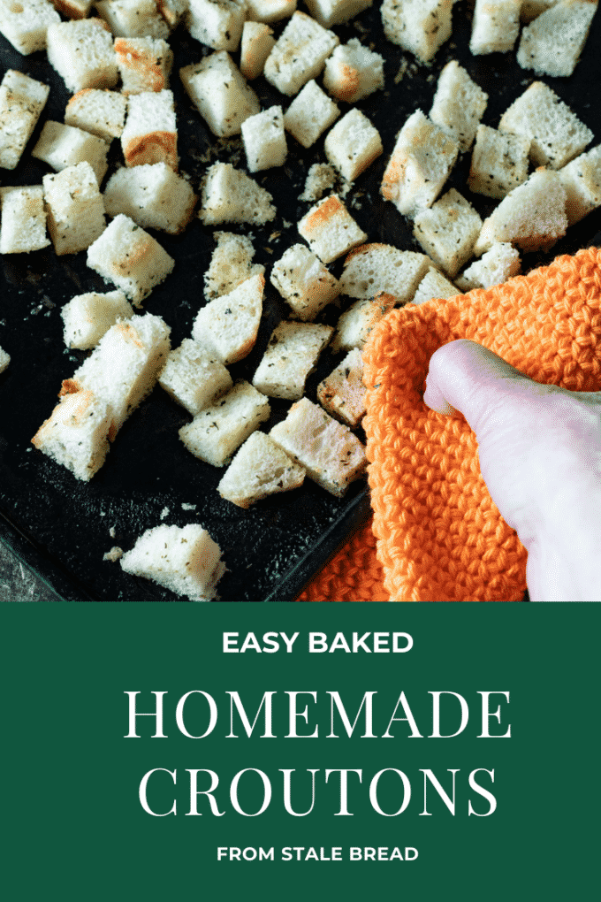 Homemade croutons Pinterest image with text overlay.