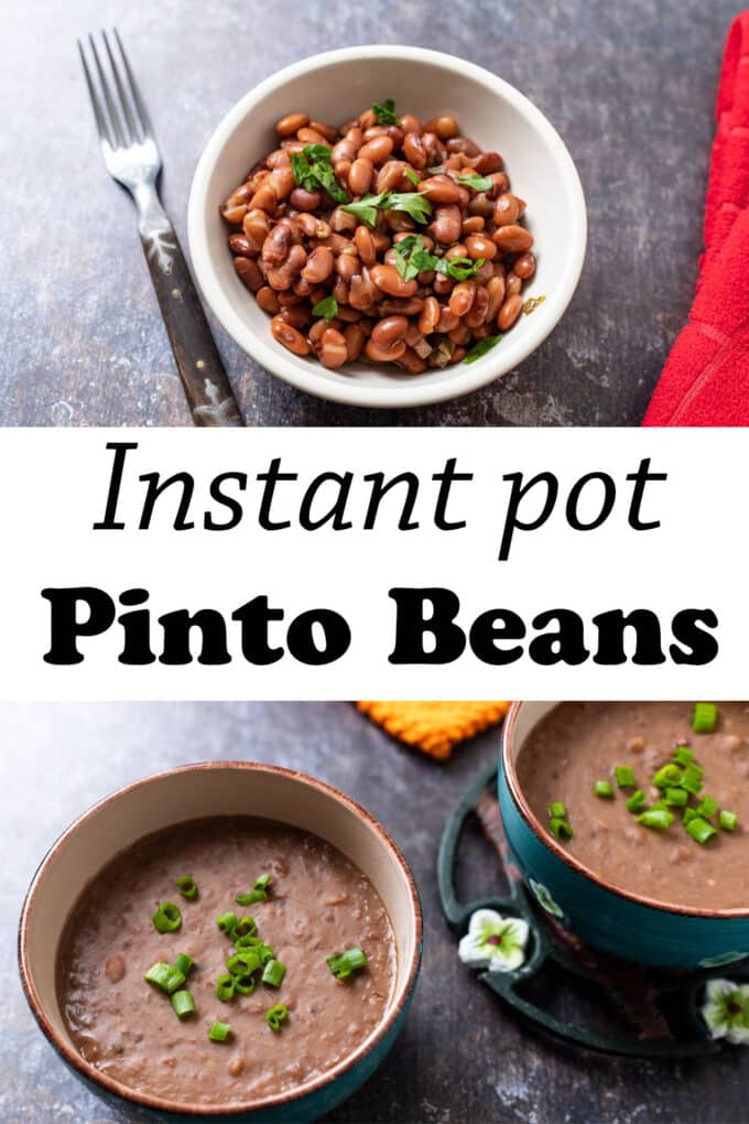 Instant pot pinto beans Pinterest image with text overlay.