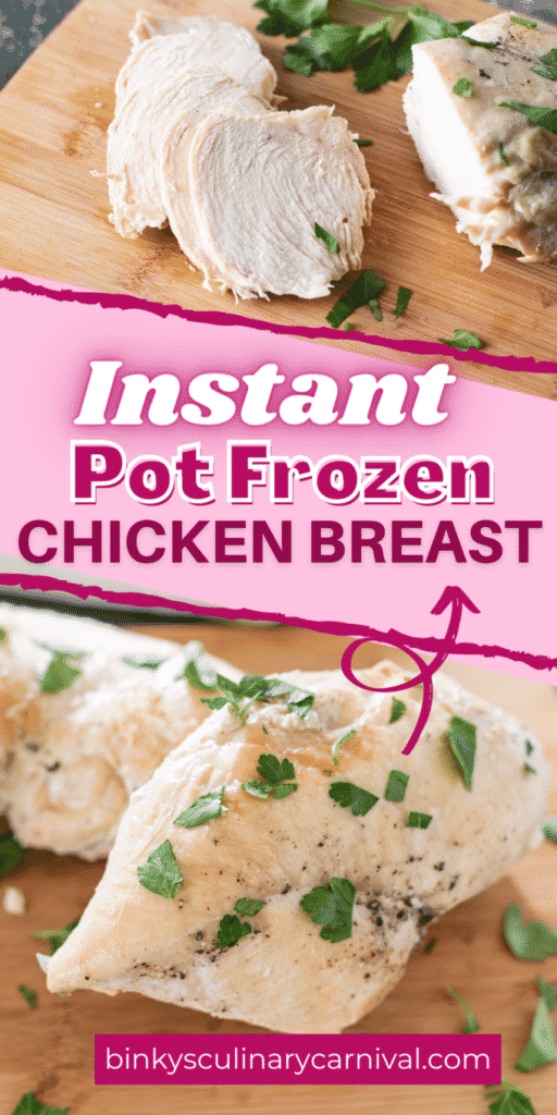 Instant pot frozen chicken breasts Pinterest image with text overlay.
