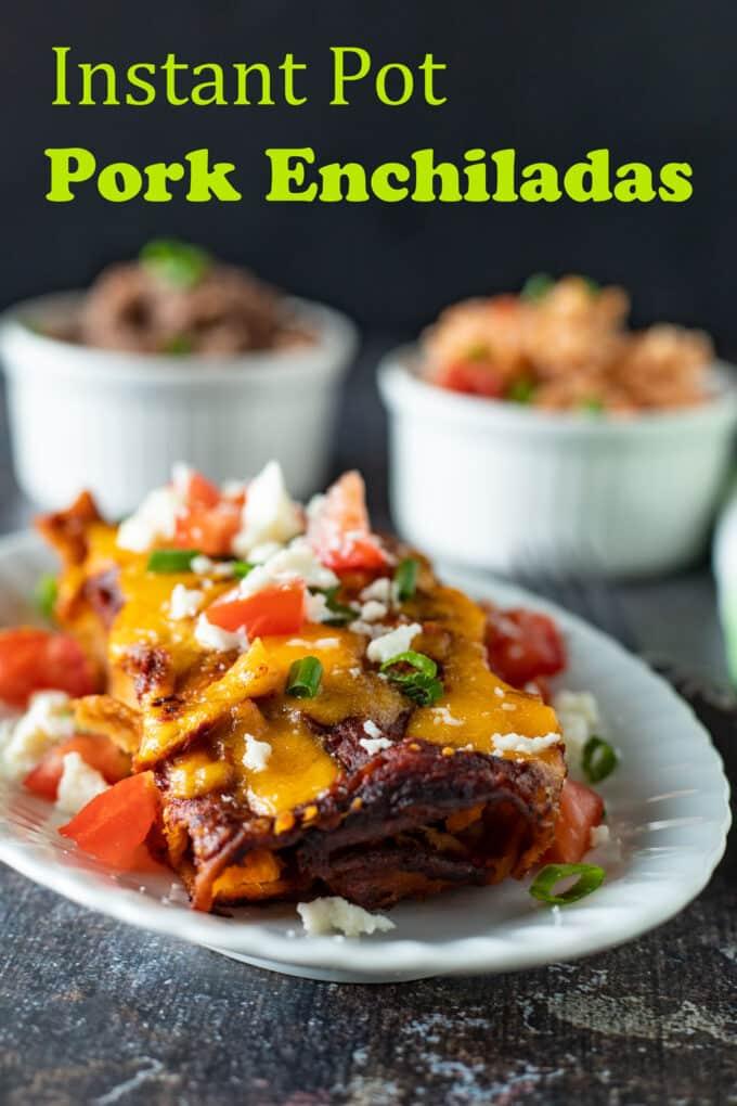 Pork enchilada pinterest image with text overlay.