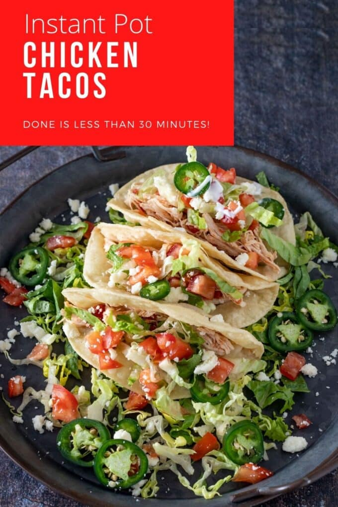 Instant pot chicken tacos Pinterest image with text overlay.