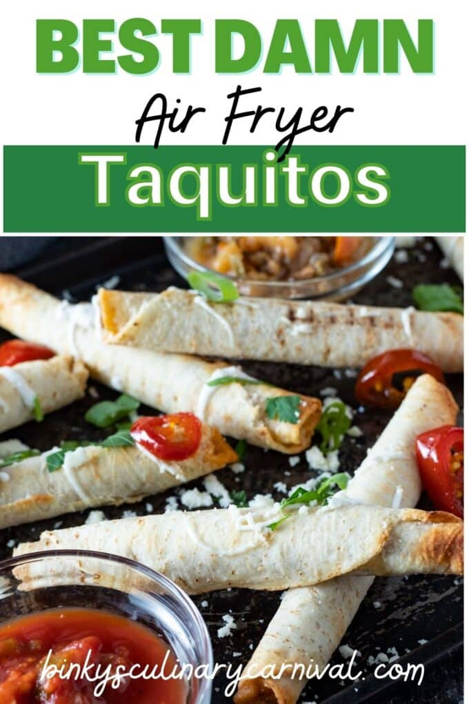 Air fryer taquitos Pinterest image with text overlay.
