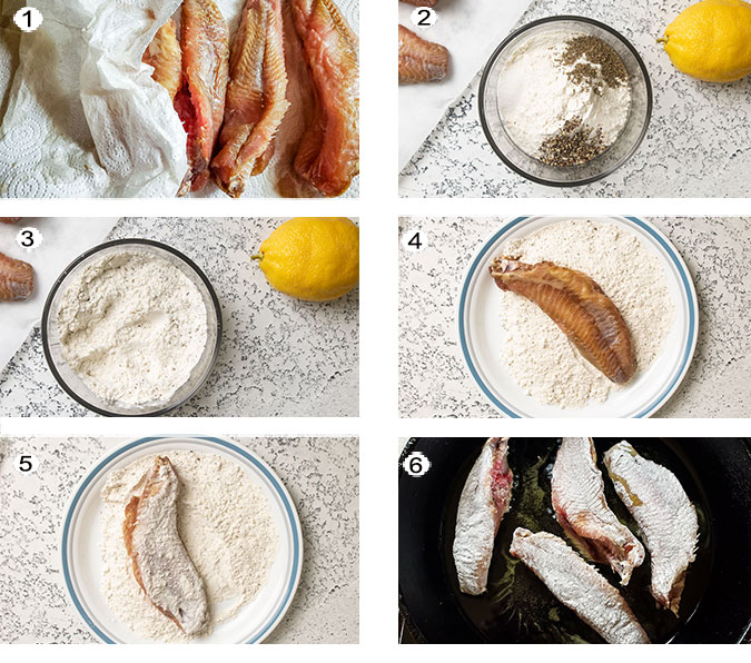 Step by step photographs of the process for making fried bullhead. See details in recipe below.