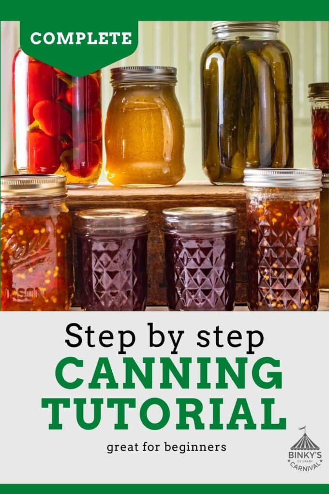 Step by step Canning 101 tutorial Pinterest Pin with text overlay