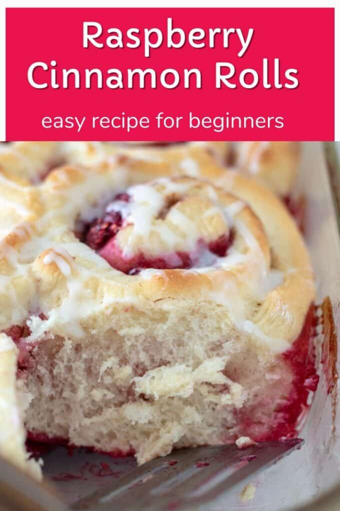 Raspberry cinnamon rolls Pinterest Pin with text overlay