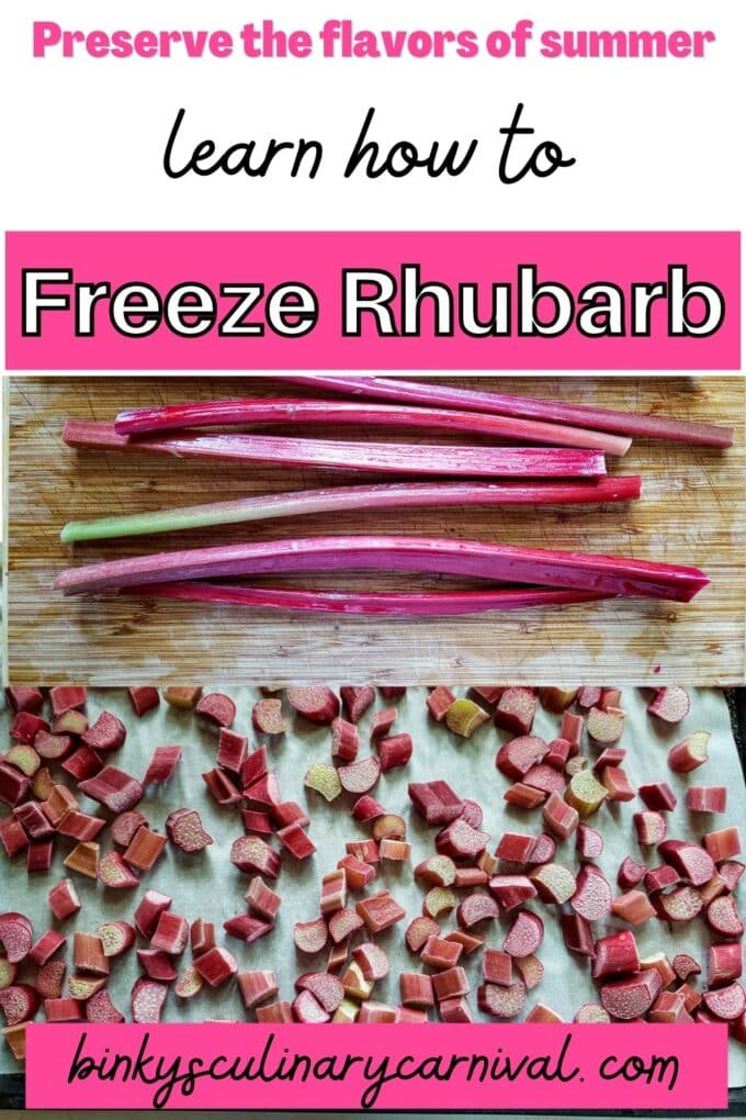 How to freeze rhubarb Pinterest Pin with text overlay