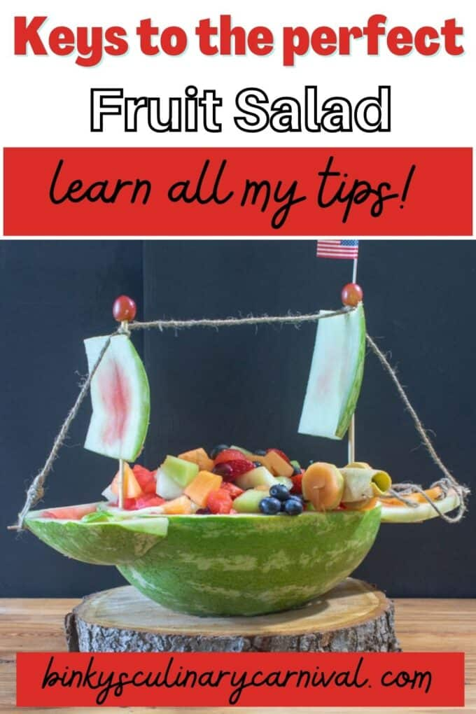 Fresh fruit salad Pinterest Pin with text overlay