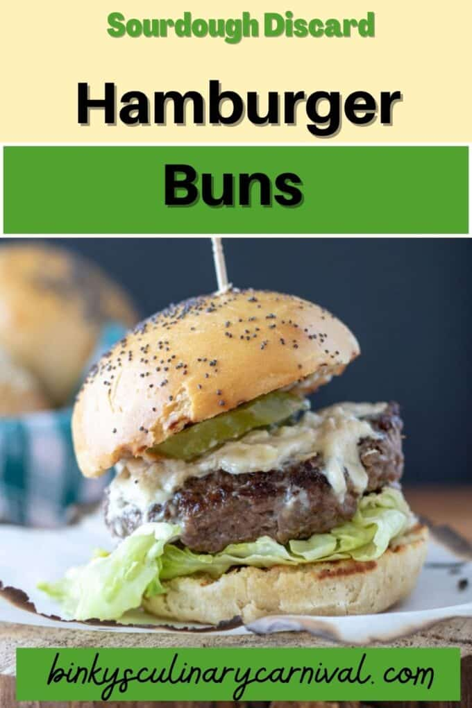 Sourdough discard Hamburger Buns Pinterest Pin with text overlay