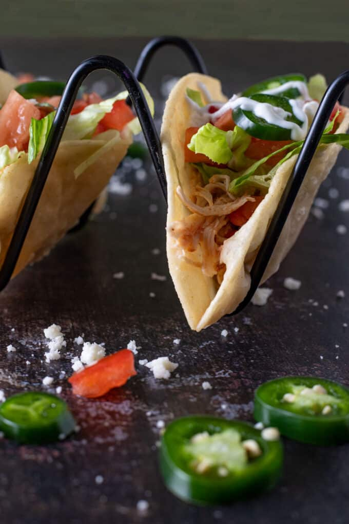 Close up of chicken taco filling.