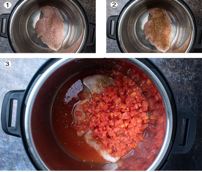 Step by step process photos for instant pot chicken breasts. See details in recipe below.