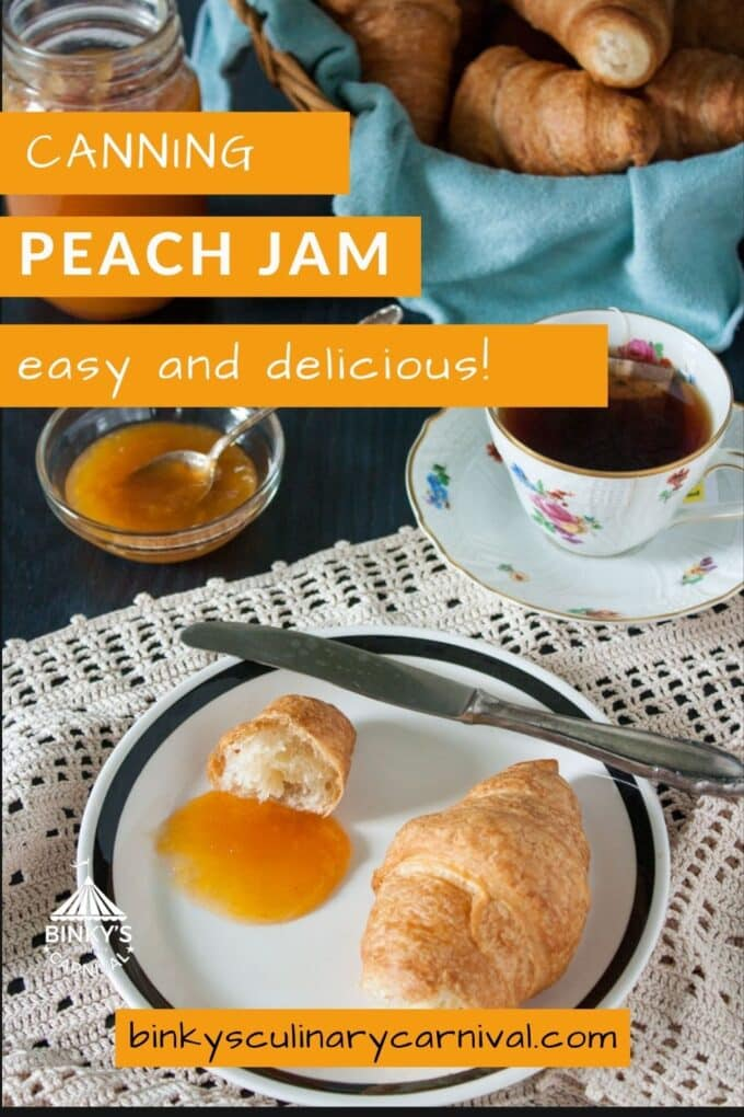 Canning Low Sugar Peach Jam Pinterest Pin with text overlay