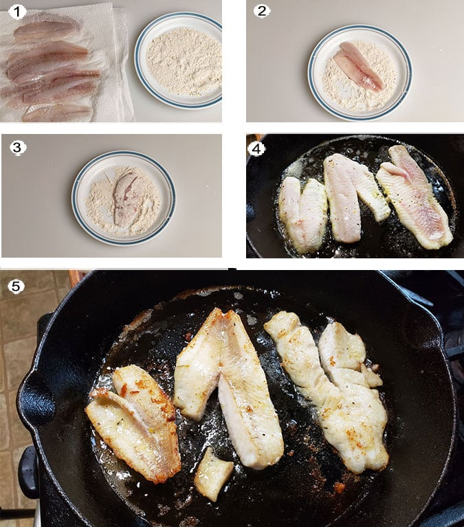 Pan fried perch step by step process photographs. See recipe below for details.