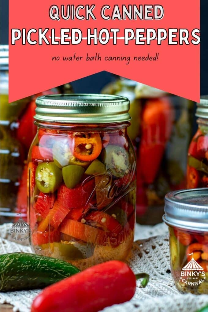 Canning Pickled peppers Pinterest Pin with text overlay