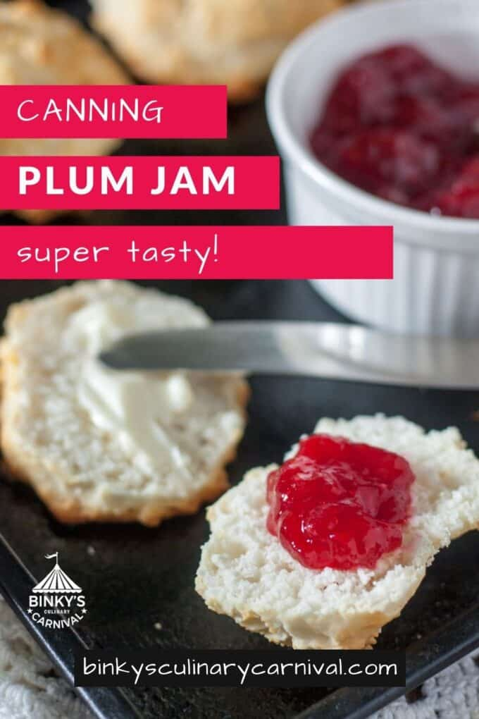 Canning plum jam Pinterest Pin with text overlay