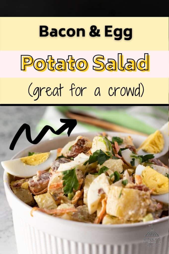 Bacon & Egg potato salad Pinterest Pin with text overlay
