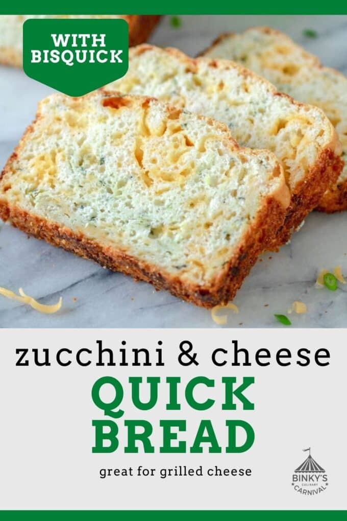 Zucchini cheese bread Pinterest Pin with text overlay