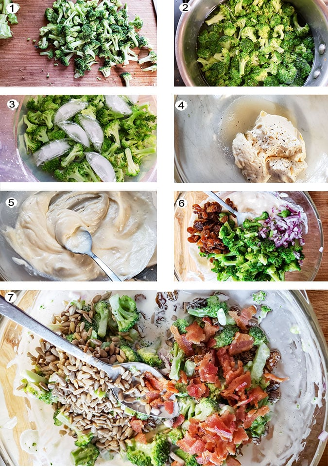 Step by step photographs of the process for making broccoli salad. See details in recipe below.