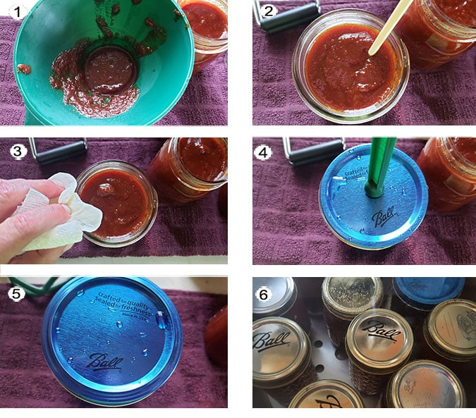 Step by step photographs of the process for canning honey BBQ sauce. See details in recipe below.