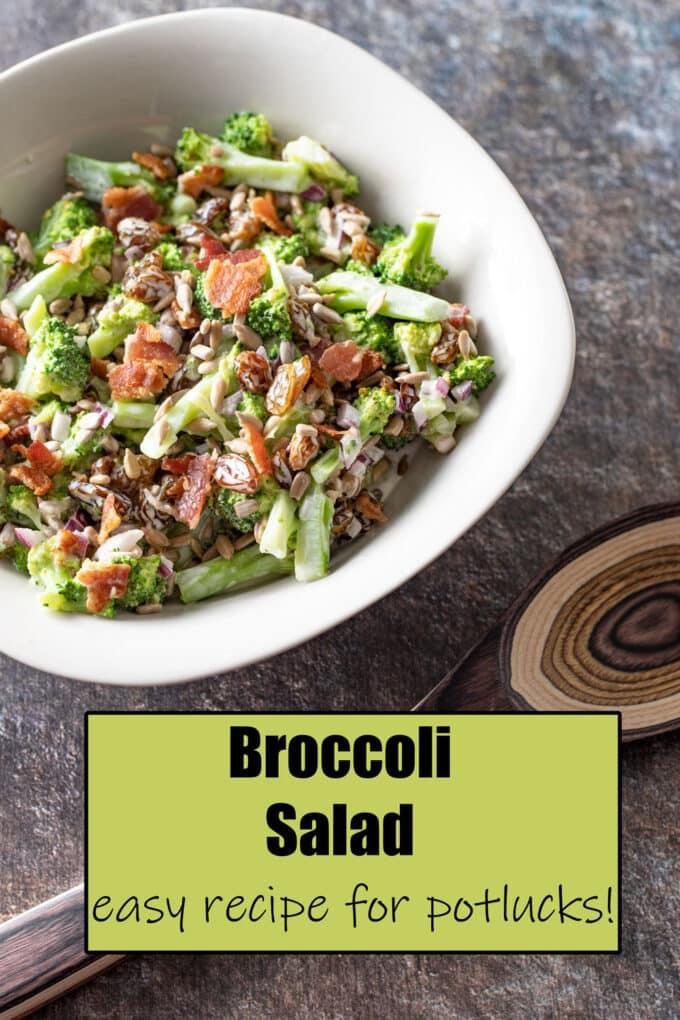 Broccoli Salad Pinterest Pin with text overlay