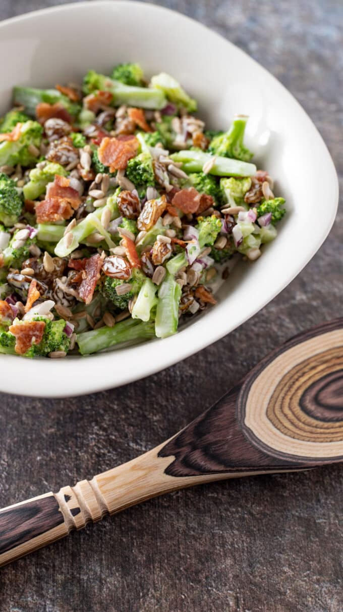 Close up photo of broccoli salad.