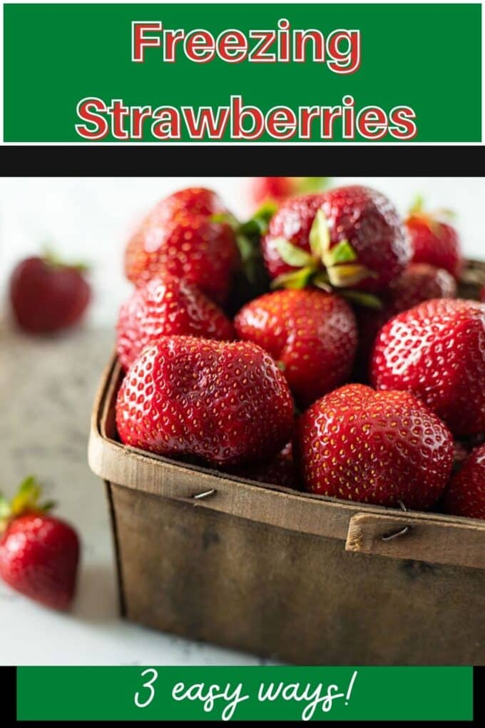 Freezing strawberries Pinterest Pin with text overlay