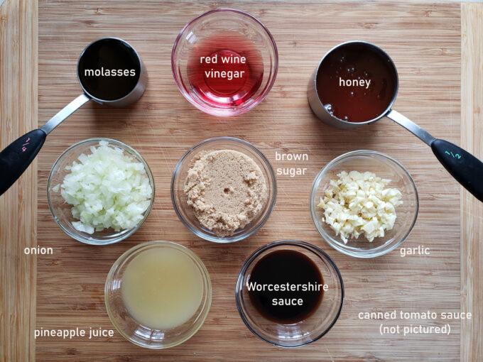 Ingredients for honey bbq sauce. See details in recipe below.