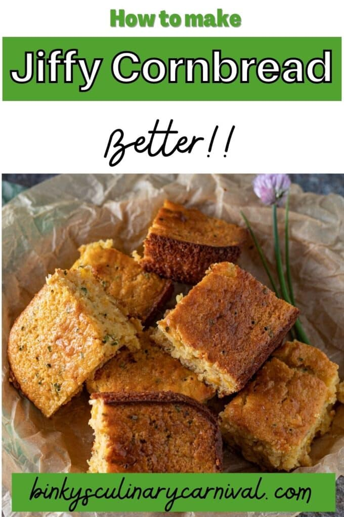 How to make boxed cornbread better Pinterest image with text overlay.