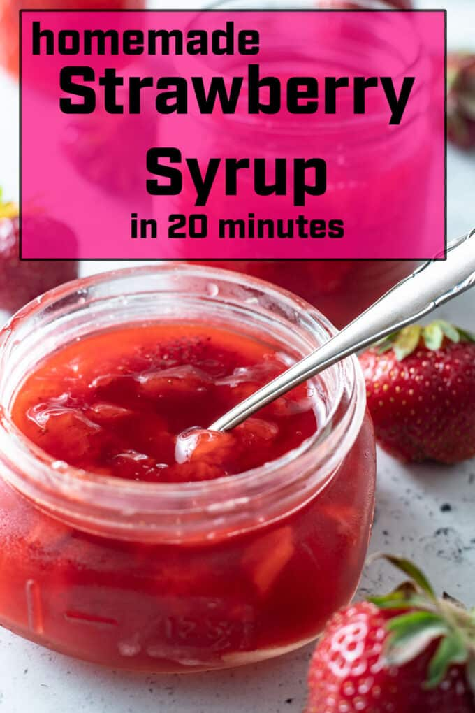 Pinterest image for strawberry syrup with text overlay.