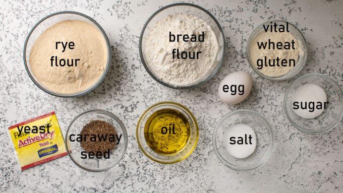 Ingredients for making rye bread. See recipe below for details.