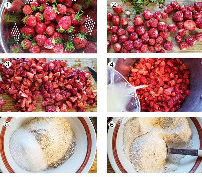 Step by step photographs of the process for making strawberry jam. See details in recipe below.