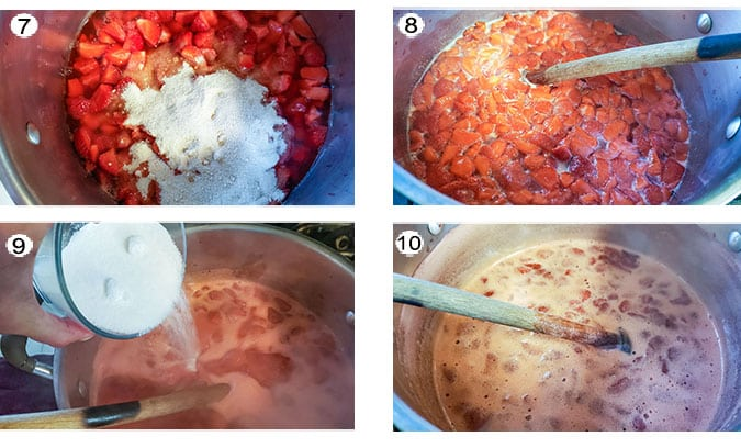 Step by step photographs of the process for making the jam. See details in recipe below.