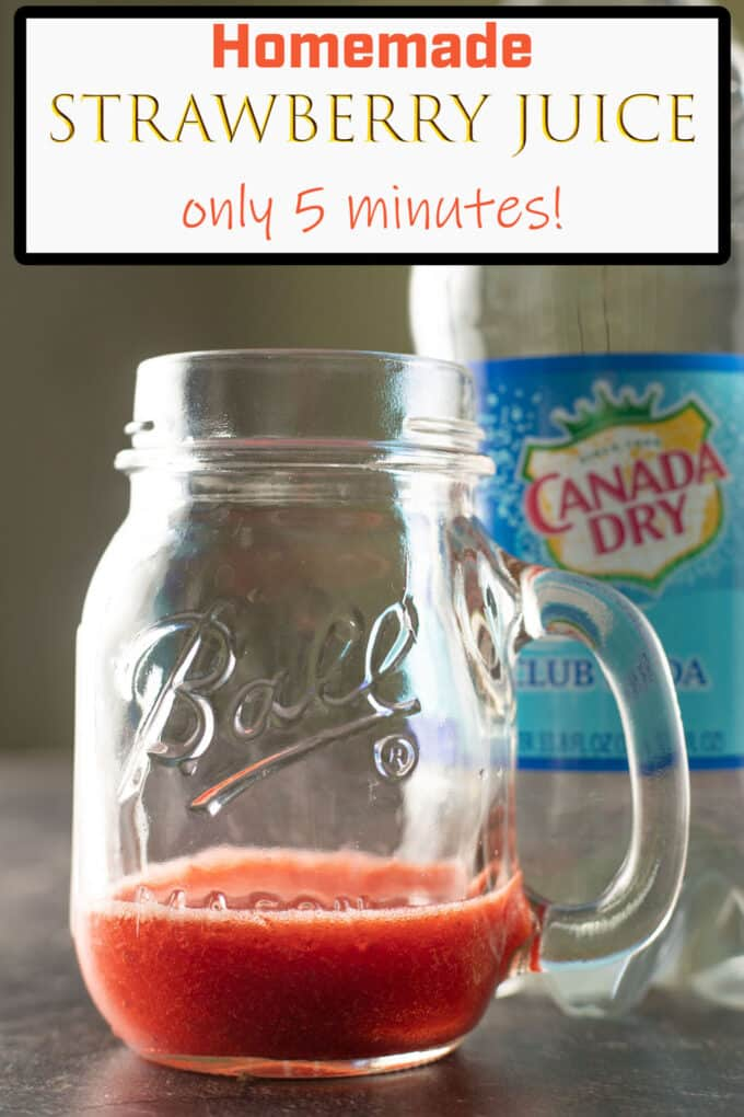 Strawberry Juice Pinterest Pin with text overlay