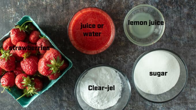 Ingredients for strawberry pie filling. See recipe below for details.