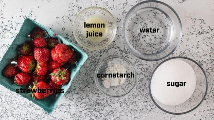 Ingredients for strawberrysyrup- berries, lemon juice, cornstarch, sugar.