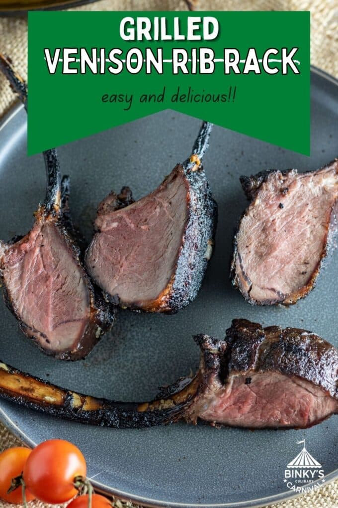 Grilled venison backstrap Pinterest Pin with text overlay