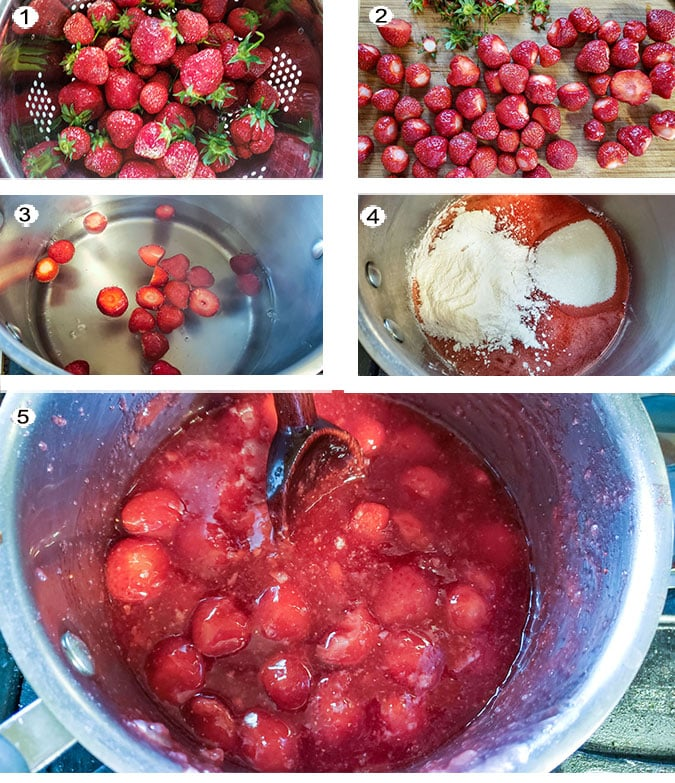 Step by step photographs of the process for making strawberry pie filling. See details in recipe below.