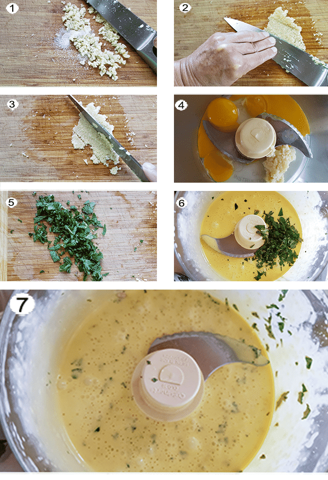 Step by step photographs of the process for making feta lamb burgers aioli. See details in recipe below.