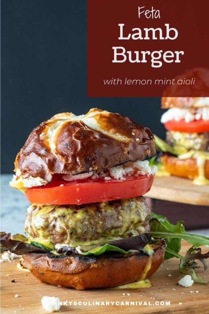 Feta Lamb Burger Pinterest Pin with text overlay