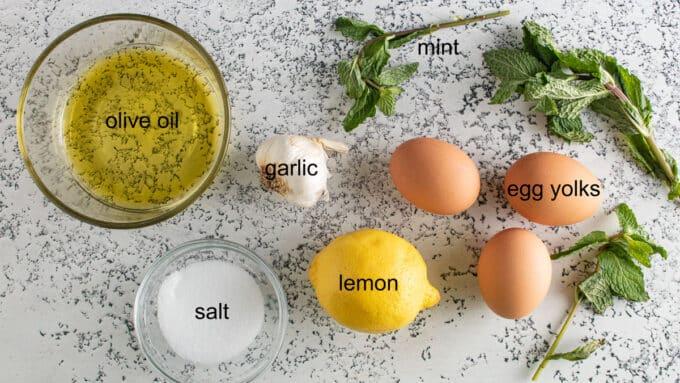 Ingredients for Feta Lamb Burgers. See details in recipe below.