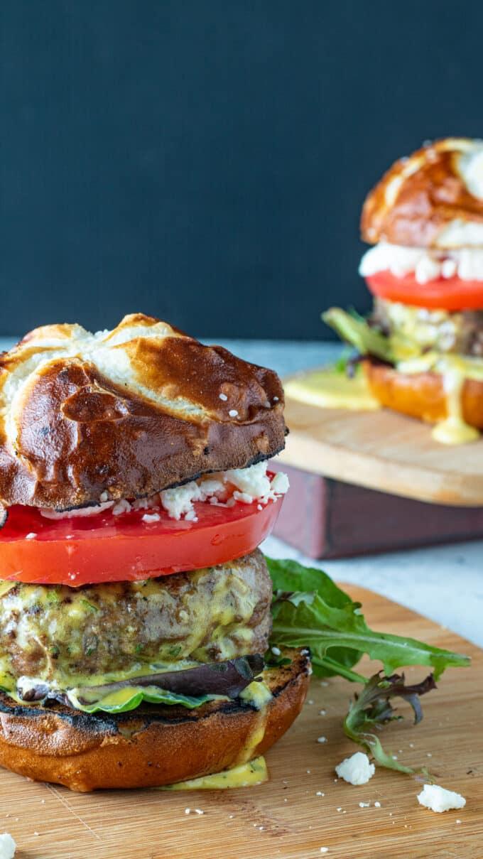 Close up of juicy burgers.