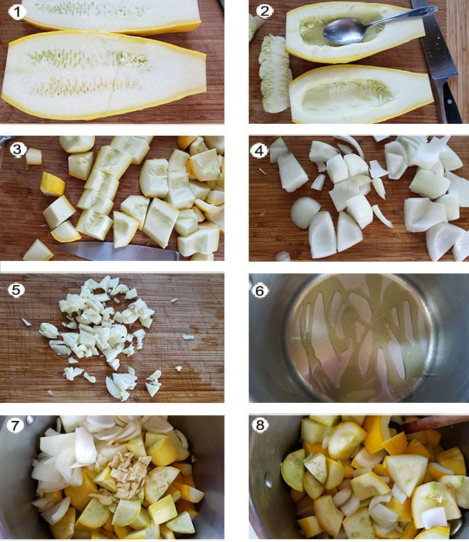 Step by step photographs of the process for making yellow squash soup. See details in recipe below.